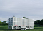 Enclosed stage trailer. The stage trailer is fully enclosed for safe equipment storage