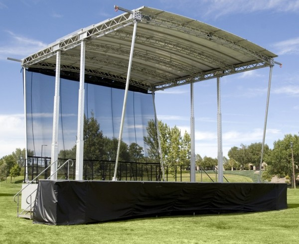 32 ft x 32 ft. roof with a 32 ft. x 24 ft. stage deck.
