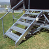 The stairs can attach anywhere along the perimeter of the stage.compartments